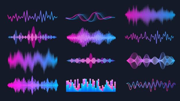 Conjunto de ondas de sonido, elementos de interfaz de hud de ondas de música, forma de onda de audio de frecuencia, señal de gráfico de voz.