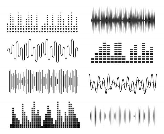 Conjunto de ondas de sonido de la música. tecnología de audio de pulsos musicales o gráficos sonoros. ecualizador de forma de onda de música