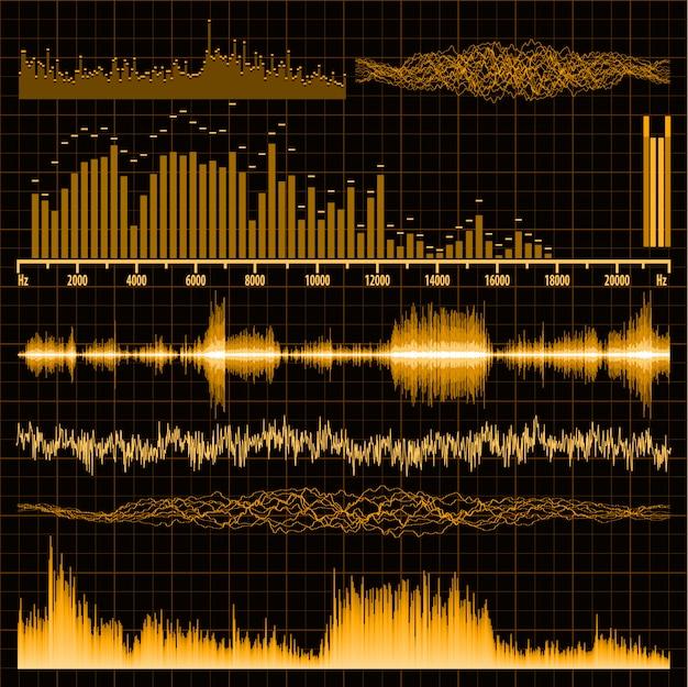 Conjunto de ondas sonoras. fondo musical.