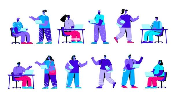 Conjunto de operadores de línea directa, despachadores de línea de ayuda personaje de gente azul plana