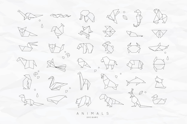 Conjunto de origami plano de animales arrugado