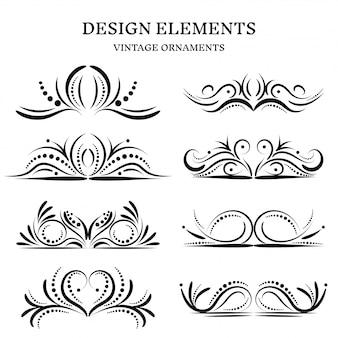 Conjunto de ornamentos de diseño vintage