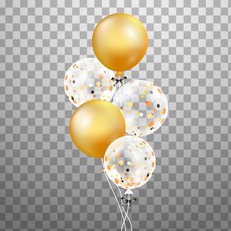 Conjunto de oro, globo de helio transparente blanco en el aire. globos de fiesta esmerilados para evento.
