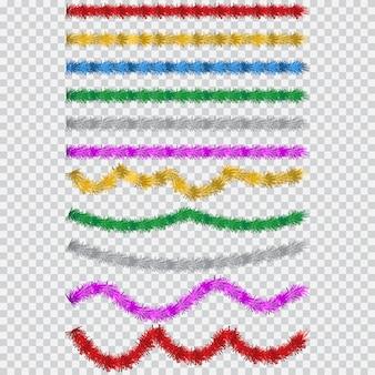 Conjunto de oropel navideño. guirnalda simple de dibujos animados de vector en diferentes colores aislado. elemento de decoración de fiesta y fiesta.