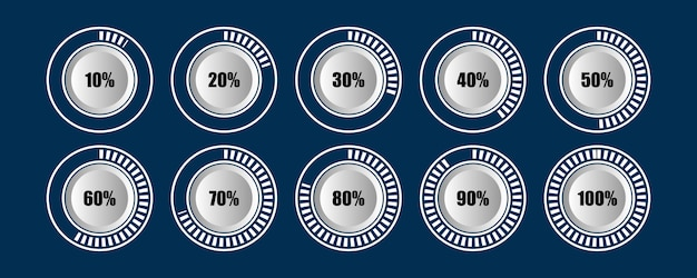 Conjunto oscuro de cargador circular de diagrama de barras de porcentaje de progreso infografía