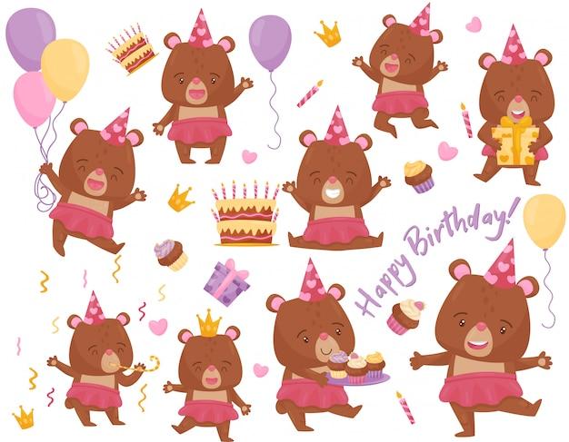 Conjunto de oso niña feliz en diferentes acciones. adorable animal humanizado. elementos para la postal de cumpleaños
