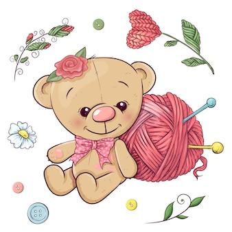 Un conjunto de oso de peluche e hilo para tejer. dibujo a mano. ilustración vectorial