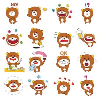 Conjunto de oso de peluche marrón de dibujos animados