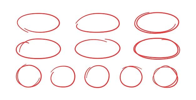 Conjunto de óvalos y círculos rojos dibujados a mano. resaltar marcos circulares