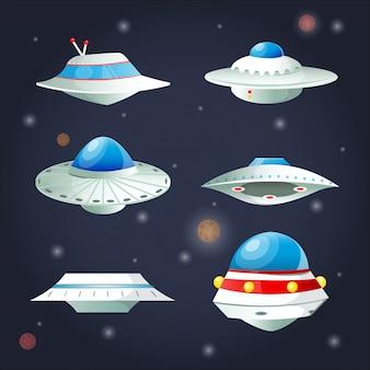 Conjunto de ovnis. colección de dibujos animados de la nave espacial.