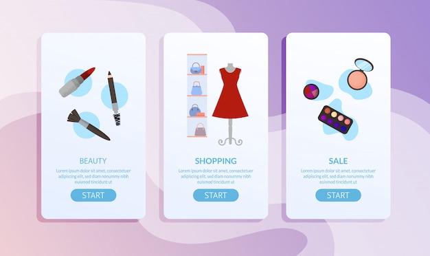 Conjunto de página de accesorios y ropa de belleza femenina