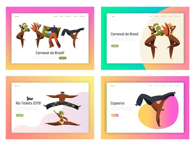 Conjunto de página de aterrizaje de bailarina de capoeira de carnaval de brasil.