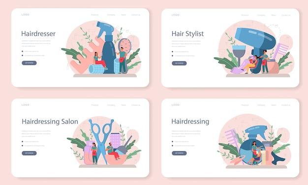 Conjunto de página de aterrizaje o banner web de peluquería. idea de cuidado del cabello en el salón.