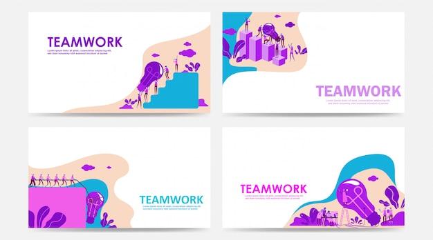 Conjunto de página de aterrizaje y página web con concepto de trabajo en equipo por personas