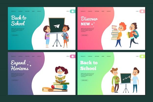 Conjunto de página de aterrizaje de regreso a la escuela. plantilla de banners web con estudiantes de dibujos animados