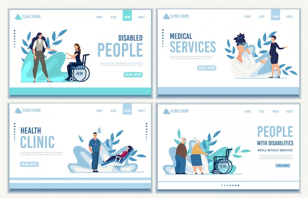 Conjunto de página de aterrizaje de servicios médicos para personas
