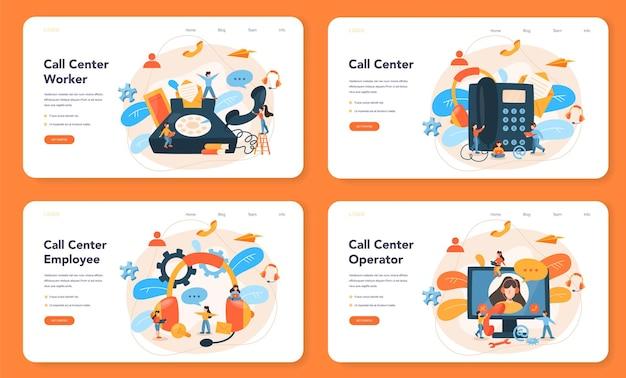 Conjunto de página de destino de centro de llamadas o soporte técnico