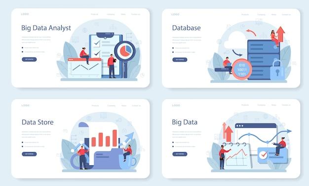 Conjunto de página de destino o banner web de análisis de big data empresarial