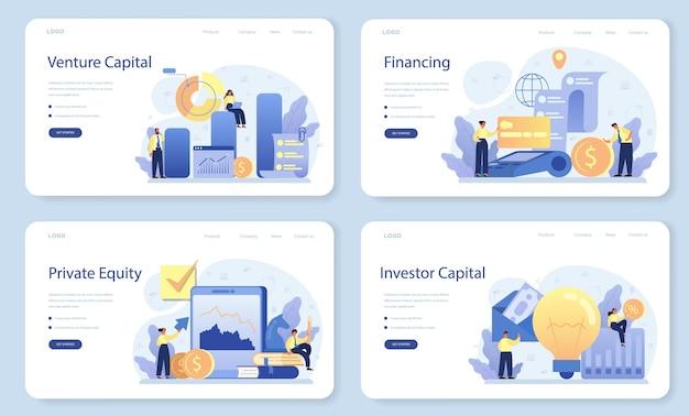 Conjunto de página de destino o banner web de capital de riesgo