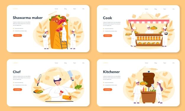 Conjunto de página de destino o banner web de comida callejera de shawarma