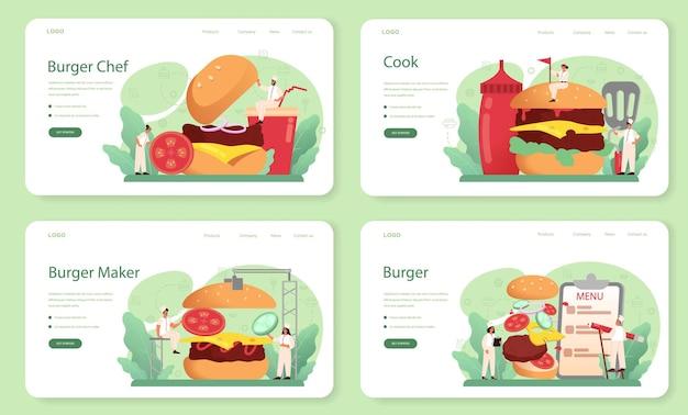 Conjunto de página de destino o banner web de comida rápida, burger house