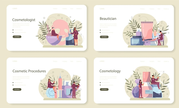Conjunto de página de destino o banner web de cosmetóloga, cuidado de la piel