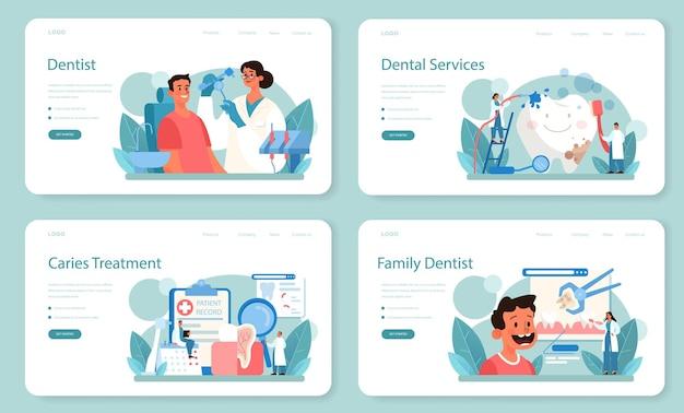 Conjunto de página de destino o banner web de dentista