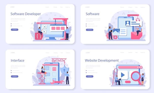 Conjunto de página de destino o banner web de desarrollador de software