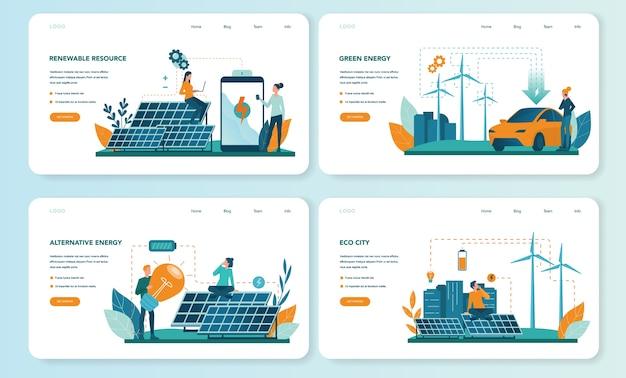 Conjunto de página de destino o banner web de energía alternativa