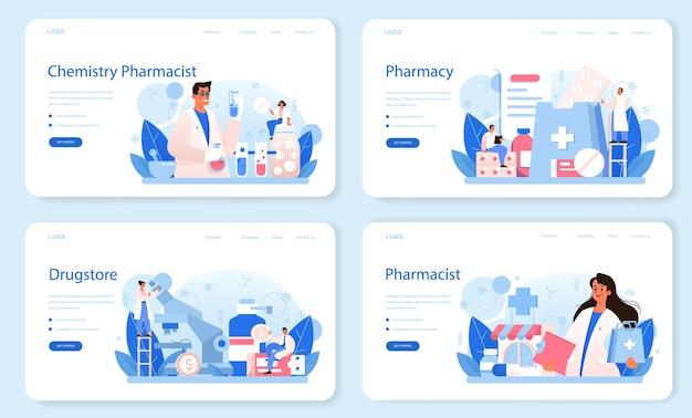 Conjunto de página de destino o banner web de farmacia