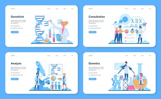 Conjunto de página de destino o banner web de genetista