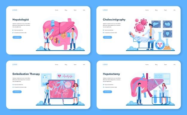Conjunto de página de destino o banner web de hepatólogo