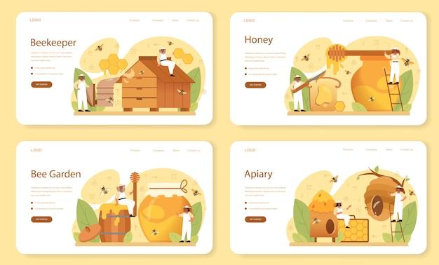 Conjunto de página de destino o banner web de hiver o apicultor.
