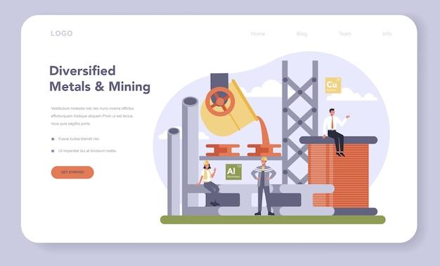 Conjunto de página de destino o banner web de la industria minera y de metales no ferrosos.