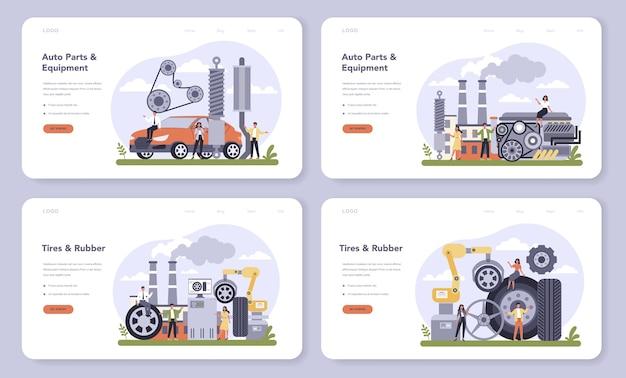 Conjunto de página de destino o banner web de la industria de producción de repuestos