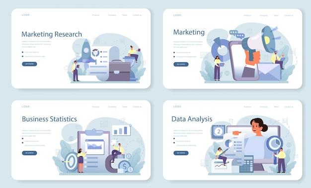 Conjunto de página de destino o banner web de investigación de marketing