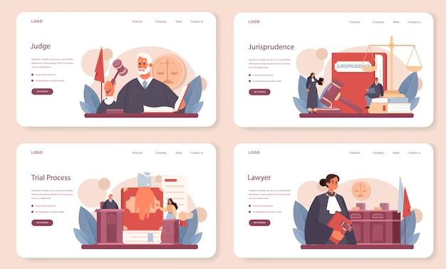 Conjunto de página de destino o banner web de juez