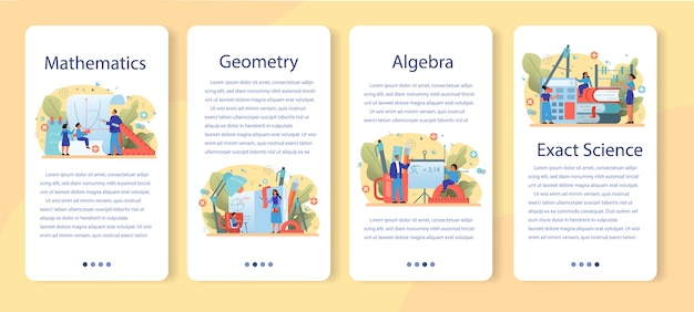 Conjunto de página de destino o banner web de materias de la escuela de matemáticas. aprendiendo matemáticas, idea de educación y conocimiento. ciencia, tecnología, ingeniería, educación matemática.