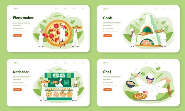 Conjunto de página de destino o banner web de pizzería