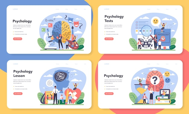Conjunto de página de destino o banner web de psicología Vector Premium