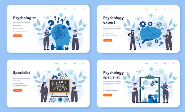 Conjunto de página de destino o banner web de psicólogo profesional