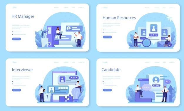 Conjunto de página de destino o banner web de recursos humanos.