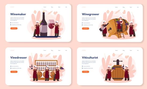 Conjunto de página de destino o banner web wine maker