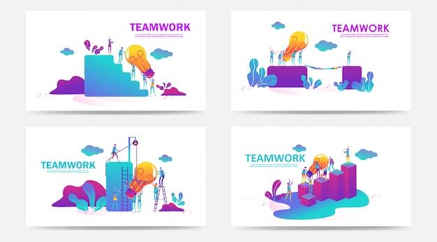 Conjunto de página de destino y página web con el concepto de trabajo en equipo. vector ilustración creativa de personas de gráficos de negocios, búsqueda de nuevas ideas. úselo para seo, diseño web, desarrollo de interfaz de usuario, aplicación comercial. - vector