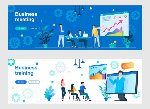 Conjunto de página de destino para reuniones de negocios