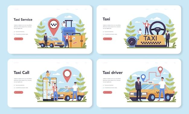 Conjunto de página de destino web de servicio de taxi. coche de taxi amarillo. cabina de automóvil con conductor en el interior. idea de transporte público de la ciudad. ilustración plana aislada