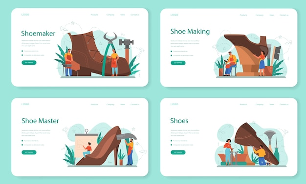 Conjunto de página de destino web de zapatero. personaje masculino y femenino con un delantal remendando zapato. calzado artesanal, fabricación retro. ilustración de vector aislado