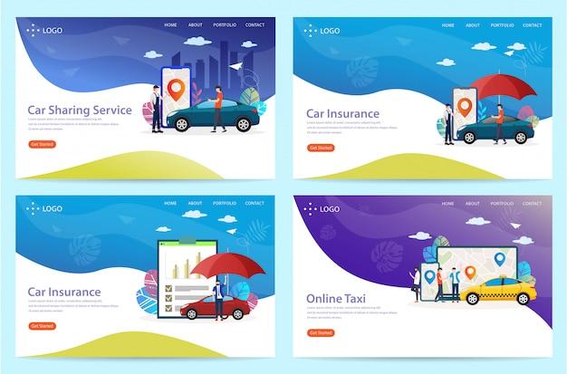 Conjunto de página de inicio con el tema del automóvil, ilustración