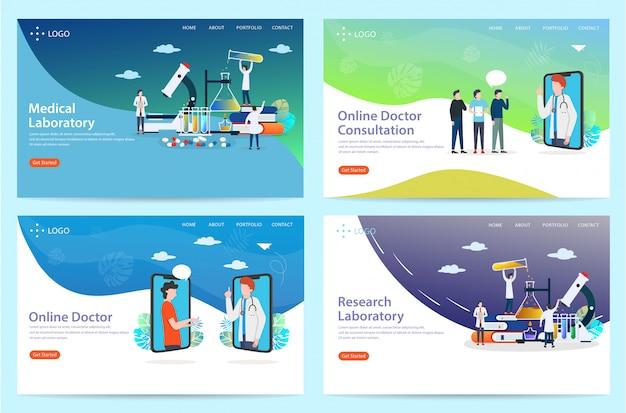Conjunto de página de inicio con temas de salud, ilustración