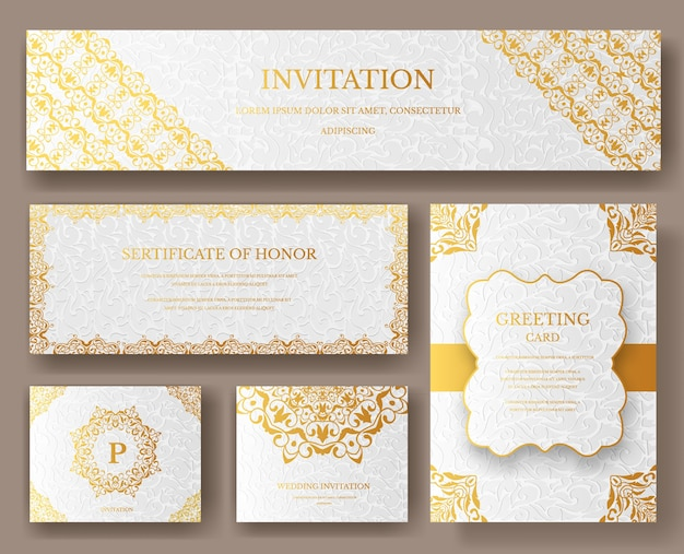 Conjunto de páginas artísticas de lujo gold con plantilla de folleto de logotipo